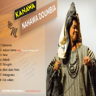 Nahawa Doumbia Album: Kanawa Nouvel album de la reine du Didadi, sortie  le 28 Novembre 2020 au Mali. Un album de 8 titres abordant plusieurs thèmes, comme l'immigration, la cohésion sociale, la pitié, la tolérance, l'indulgence, le mariage, et aussi une chanson d'hommage aux défunts artistes maliens. La Diva invite sa fille Doussou Bagayoko sur un titre pour un duo exceptionnel. On y trouve tout ce qu'on aime chez Nahawa Doumbia: cette voix magique reconnaissable entre mille.